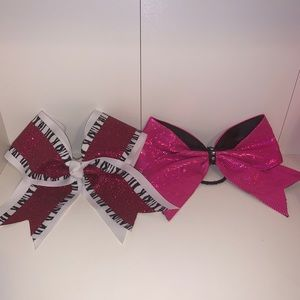 Glitter Pink Cheer Bows